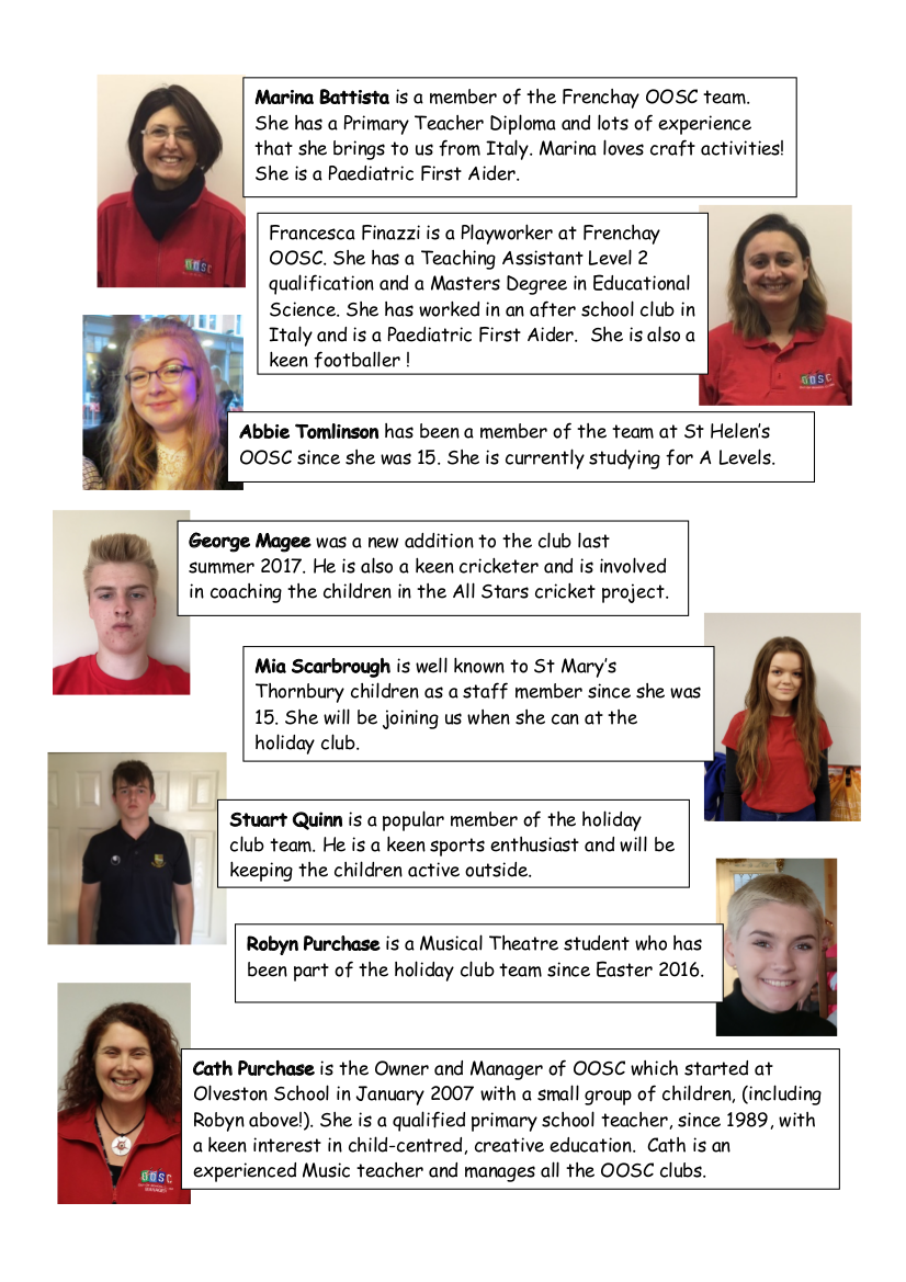 staff photos - Holiday club March2018b
